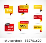 vector stickers  price tag ... | Shutterstock .eps vector #592761620