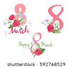 beautiful greeting on 8 th of... | Shutterstock .eps vector #592768529