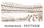 sketch of football stadium with ...   Shutterstock .eps vector #592774328