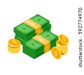 isometric dollars bundles ... | Shutterstock .eps vector #592774970