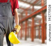 construction worker  protection ... | Shutterstock . vector #592775528