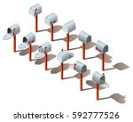 isometric realistic mailbox.... | Shutterstock .eps vector #592777526