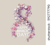 women day background with frame ... | Shutterstock .eps vector #592777790