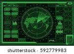 abstract digital green radar... | Shutterstock .eps vector #592779983
