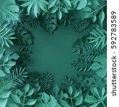 3d render  tropical paper... | Shutterstock . vector #592783589