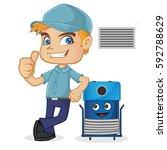 hvac technician leaning on... | Shutterstock .eps vector #592788629