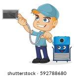 hvac technician cleaning air... | Shutterstock .eps vector #592788680