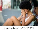disappointed teenage girl... | Shutterstock . vector #592789490