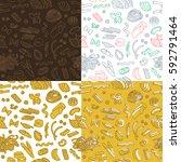 various types of italian pasta. ... | Shutterstock .eps vector #592791464