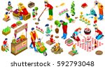 farmer man and kids planting... | Shutterstock .eps vector #592793048