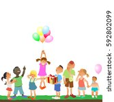 children of different ages and... | Shutterstock .eps vector #592802099