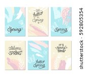 set of artistic creative spring ... | Shutterstock .eps vector #592805354