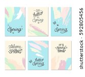set of artistic creative spring ... | Shutterstock .eps vector #592805456