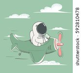 happy astronaut flying on the... | Shutterstock .eps vector #592810478