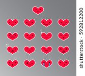 red heart emoticons with... | Shutterstock .eps vector #592812200