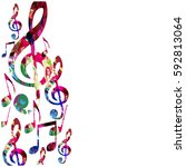 colorful music notes isolated... | Shutterstock .eps vector #592813064