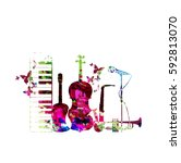 colorful music instruments... | Shutterstock .eps vector #592813070