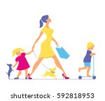 woman with two children and... | Shutterstock .eps vector #592818953