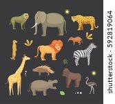 african animals cartoon vector... | Shutterstock .eps vector #592819064