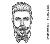 hand drawn portrait of bearded...   Shutterstock .eps vector #592821308