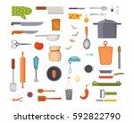 vector set kitchen utensils.... | Shutterstock .eps vector #592822790