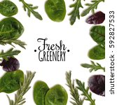 frame of fresh herbs | Shutterstock . vector #592827533
