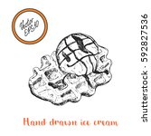 hand drawn belgian waffle and... | Shutterstock .eps vector #592827536