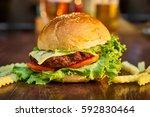 delicious hamburger | Shutterstock . vector #592830464