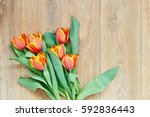 bouquet of tulips on wooden... | Shutterstock . vector #592836443
