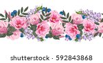 Stock vector seamless floral border with cute pink flowers hand drawn pattern on white background design 592843868