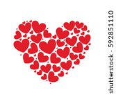 silhouette pattern red heart... | Shutterstock .eps vector #592851110