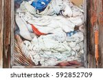 old wrinkled clothes in the... | Shutterstock . vector #592852709
