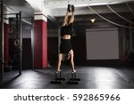 young athlete man doing... | Shutterstock . vector #592865966