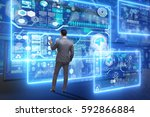 businessman searching for big...   Shutterstock . vector #592866884