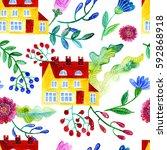 home sweet home. watercolor... | Shutterstock . vector #592868918
