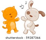 Stock vector a chubby cat and dog dancing together vector 59287366