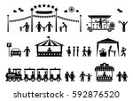 amusement park pictogram set.... | Shutterstock .eps vector #592876520