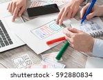 ux designer designing designers ... | Shutterstock . vector #592880834