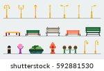 light posts and outdoor...   Shutterstock .eps vector #592881530