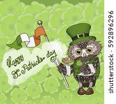 saint patrick's day owl smoking ...   Shutterstock .eps vector #592896296