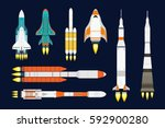 vector technology ship rocket... | Shutterstock .eps vector #592900280