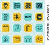 set of 16 celebration icons.... | Shutterstock .eps vector #592910546