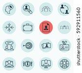 set of 16 business management... | Shutterstock .eps vector #592911560