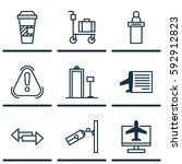 set of 9 airport icons.... | Shutterstock .eps vector #592912823