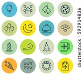 set of 16 happy new year icons. ... | Shutterstock . vector #592914836