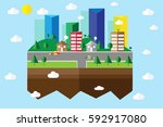 town and building in natural... | Shutterstock .eps vector #592917080