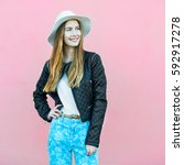 young happy fashion blogger... | Shutterstock . vector #592917278