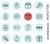 set of 16 christmas icons.... | Shutterstock . vector #592917758