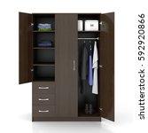 dark brown wardrobe with open... | Shutterstock . vector #592920866