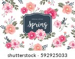 spring sale poster with... | Shutterstock .eps vector #592925033
